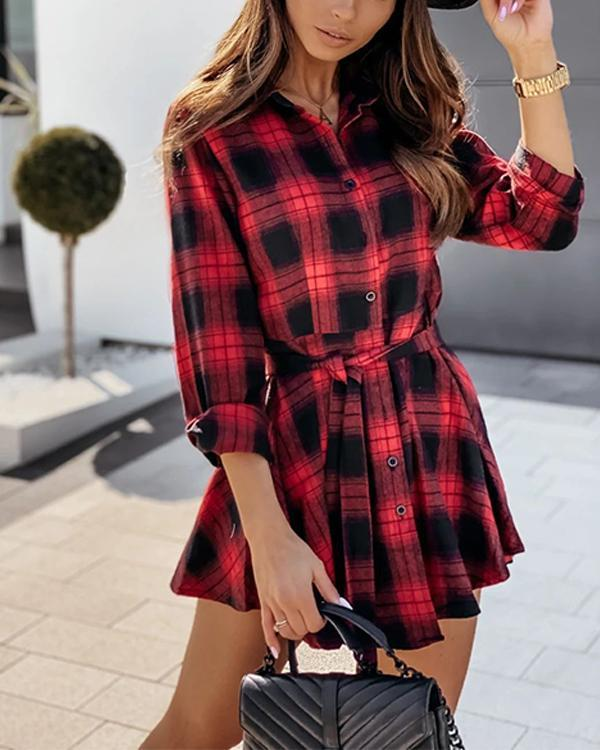 Plaid Long Sleeve Belt Shirt Dress