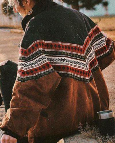 Retro Stripe Loose Fitting Cotton Jacket
