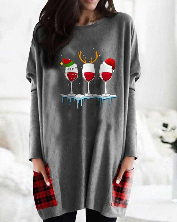 Christmas Plaid Print Bat Sleeve Pockets Casual Blouses Tops