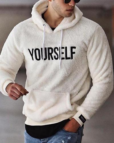 Mens Casual Letters  Embroidery Loose Hooded Sweatshirt