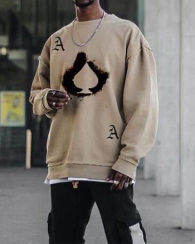 Mens Khaki Crew Neck Sweatshirt