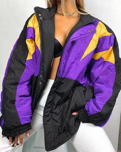 Purple and Black Patchwork Loose Jacket