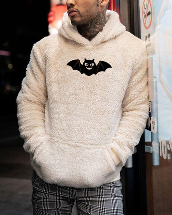 Mens Print Casual Loose Hooded Sweatshirt