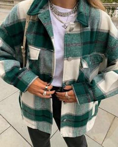 Shawl Collar Plaid Casual Jacket