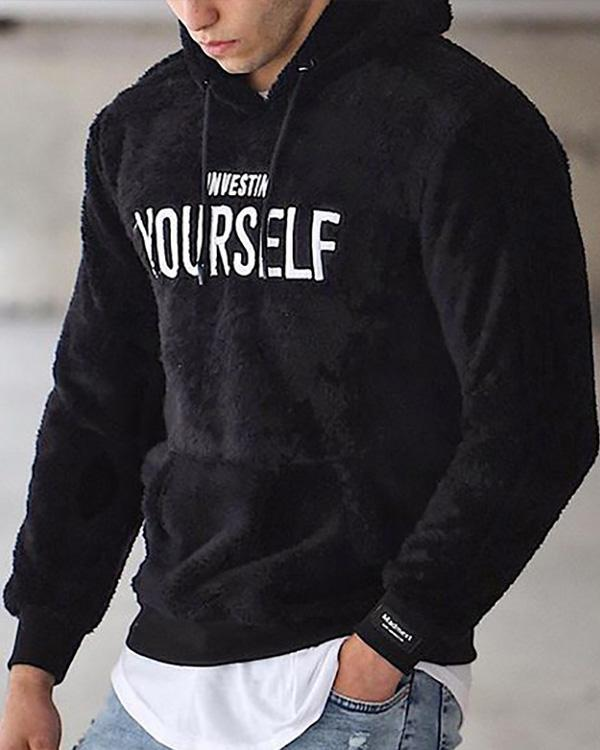 2020 Mens Casual Letters  Embroidery Loose Hooded Sweatshirt