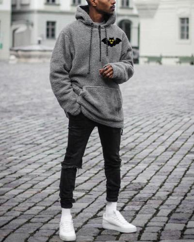 Mens Grey Casual Loose Hooded Sweatshirt
