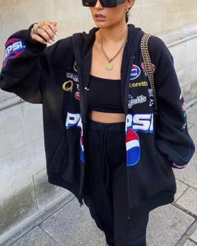 Women Black Letter Printed ZipperCcasual Sweatshirt Coat