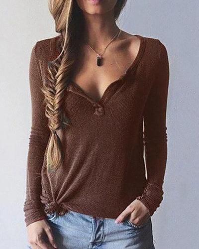 Long Sleeve Paneled V neck Plus Size Elegant Cotton T-Shirt
