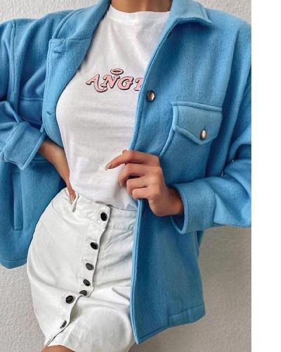 Womens Fleece Casual Trucker Jacket Shacket Pocket Shirt Coat