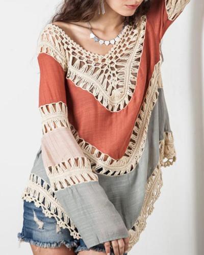 Women Casual Long Sleeve Lace Knitwear Pullover Crochet Blouse Tops