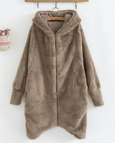 Plus Size Cozy Fuzzy Long Sleeve Hooded Zipper Irregular Hem Coats