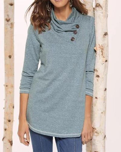Casual Button Solid Long Sleeve Blouses