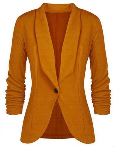 Long Sleeve Lapel Buttons Blazers
