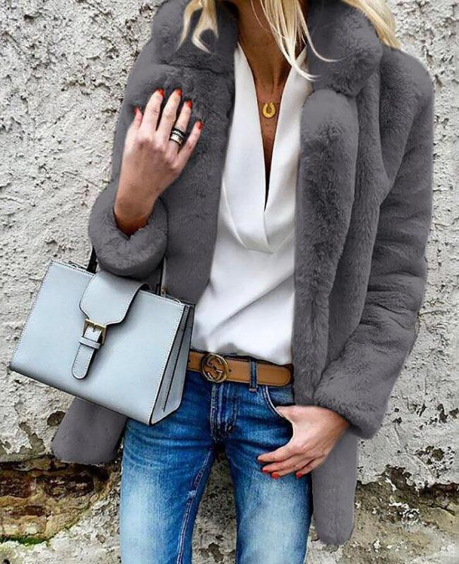 Autumn and Winter Women  Sexy Long Sleeve Fur Solid Color Cardigan Faux Fur Collar Jacket