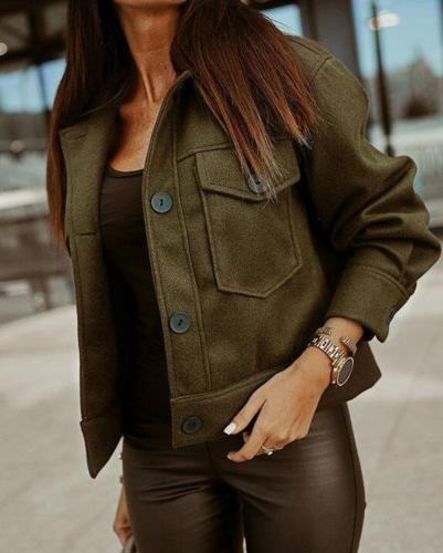 Women's Coat Solid Pocket Short Coat