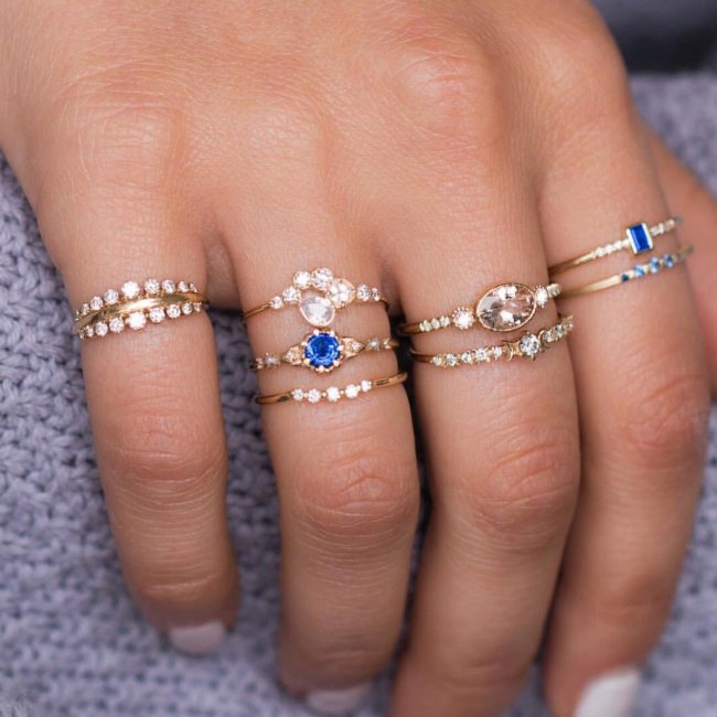 Flash Diamond Ring 8 Piece Ring Set