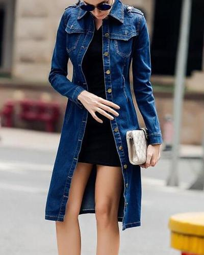 Dark blue Long Sleeve Shirt Collar Trench Coat