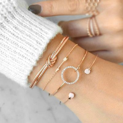 Knotted Circle With Diamond Arrow Bracelet