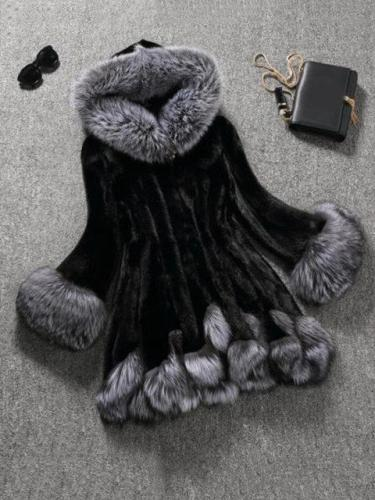 Women's Fur Coat Patchwork With Hoodie Fashion Coat
