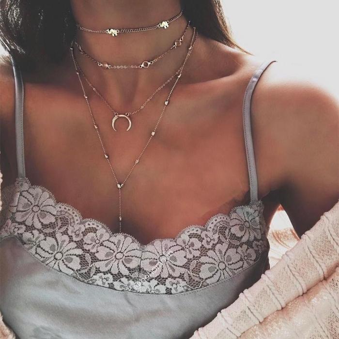 Bohemian Moon Pendant Handmade Necklace Set