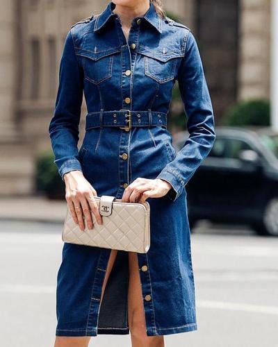 Dark blue Long Sleeve Shirt Collar Trench Coat