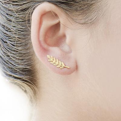 Leaf Alloy U-shaped Earrings