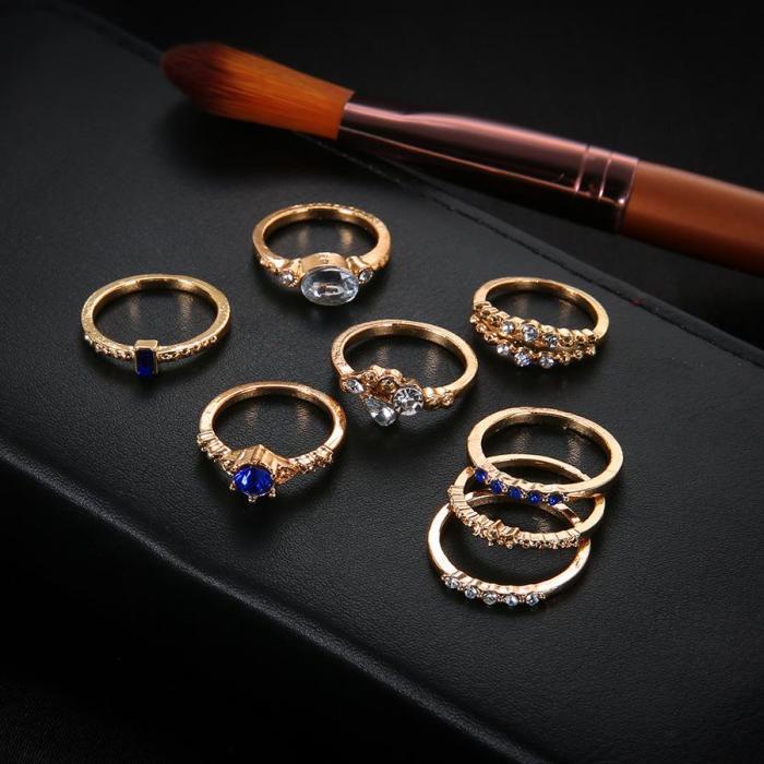 Flash Diamond Ring 8 Piece Ring Set