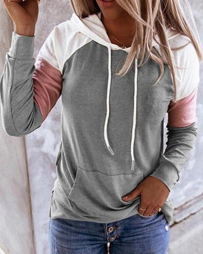 Womens Long Sleeve  Color Block Hoodie Pullover Hooded Sweatshirt