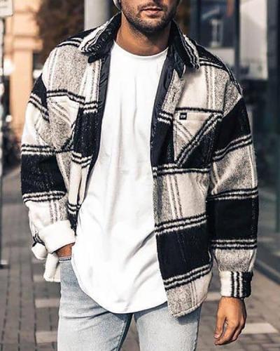 Lapel Plaid Fall Single-Breasted Jacket