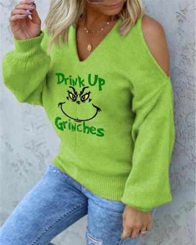Printed Off Shoulder V-Neck Sweater For Women