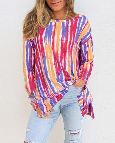 Striped Round Neck Long Sleeves Casual T-shirts