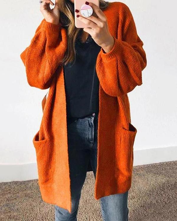 Women's Happy Fall Lantern Sleeves Loose Cardigan