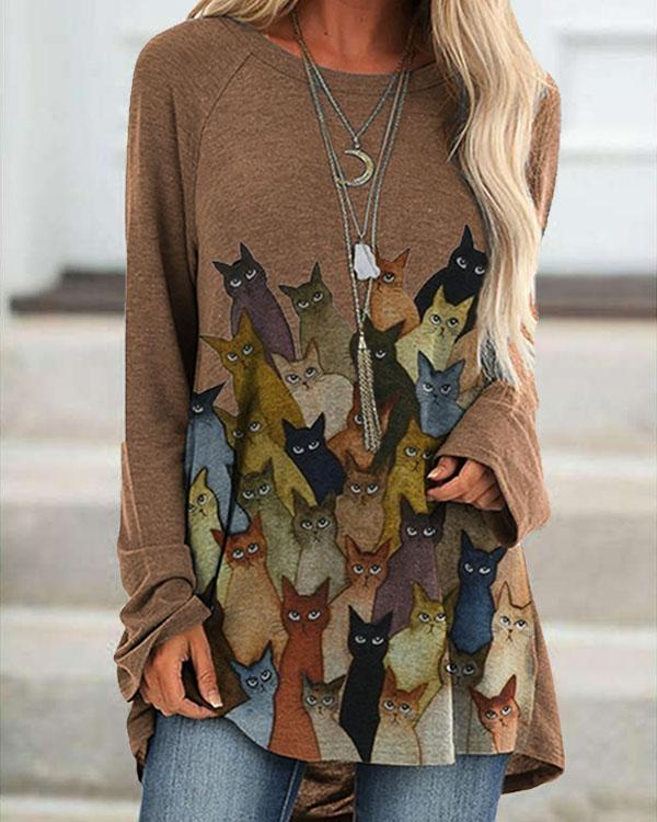 Casual Loose Cat Print Round Neck Long Sleeve T-shirt