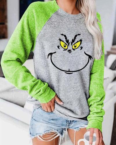 Grinch Chirstmas Green Sleeve Sweatshirt