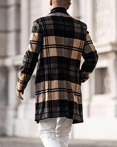 Mens Trench Coat Trendy Plaid Pattern Woolen Button Over Coat