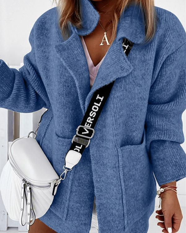 Women Pure Color Pockets Knit Sweater Cardigan