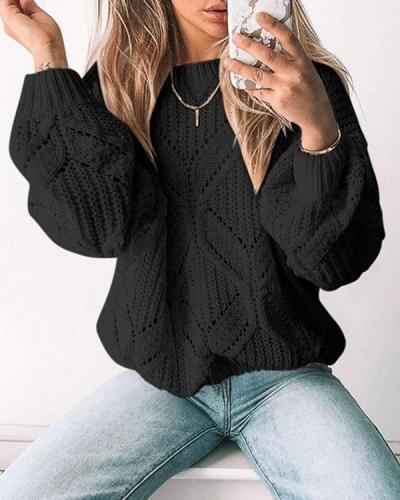 Irregular Hollow V-neck Long-sleeved Sweater