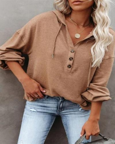 Solid Color Fashion Hooded Drawstring Long-sleeve Button T-shirt