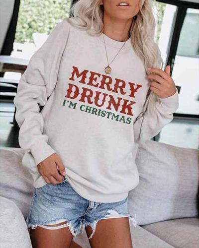 Letter Printed Long Sleeve Pullover Sweatshirt