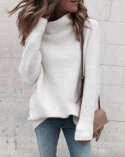 Fashion Dropped Shoulder Sleeve Turtle Neck Plain Color Sweater