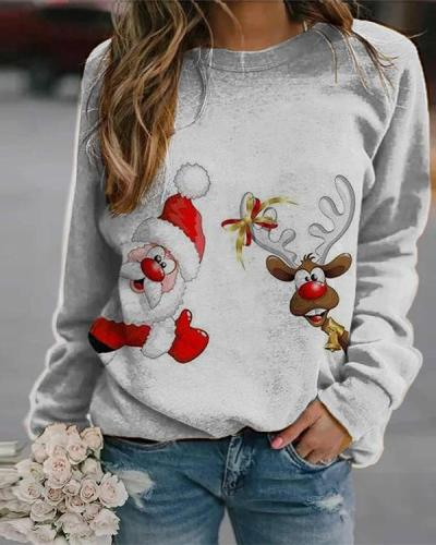 Women's Printed Crew Neck Casual Sweatshirt