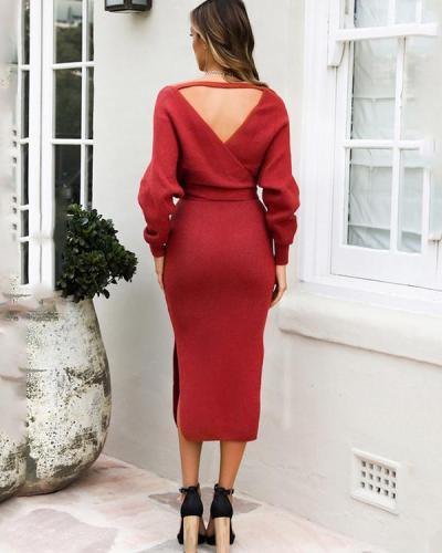 Double V-neck Bow Decor Sweater Knit Dress
