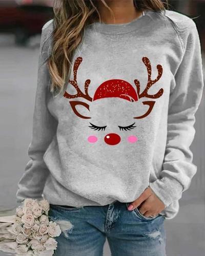 Women's Printed Crew Neck Casual Sweatshirt