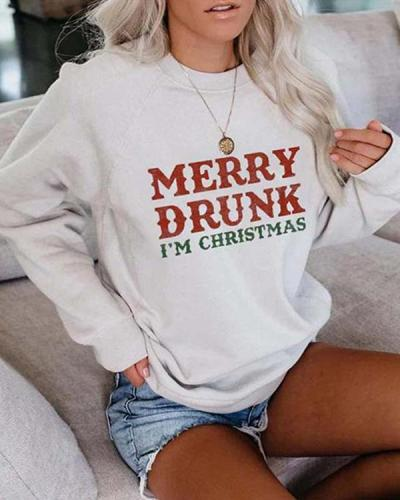 Letter Printed Long Sleeve Pullover Sweatshirt