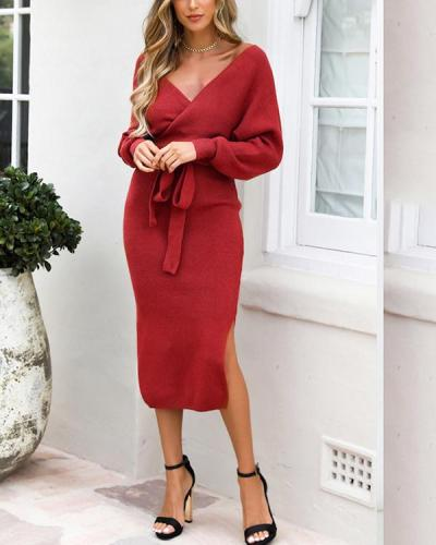 Double V-neck Bow Decor Sweater Knit Dress