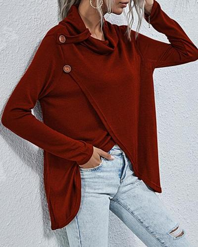 Women Asymmetric Hem Pile Heap Collar T-shirt
