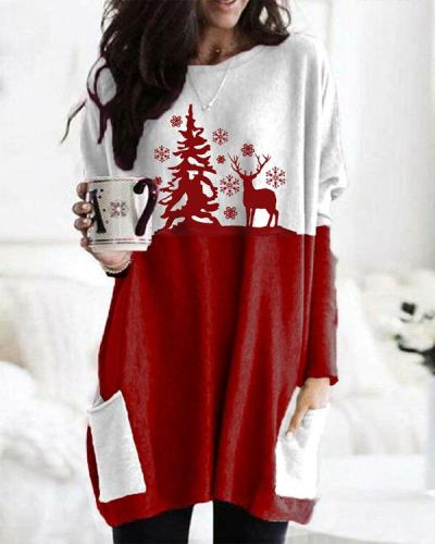 Christmas Elk Color Block Print Bat Sleeve Pockets Casual Blouses Tops