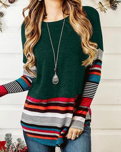 Women Crew Neck Colorful Stripe Shirts & Tops