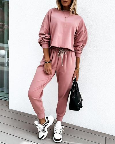 Fashion Solid Color Casual Two-Piece Set