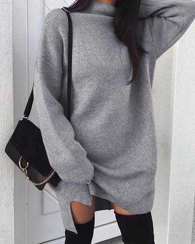 Fashion Stylish Woman Plain Sexy Daily Long Sleeve Shift Dresses